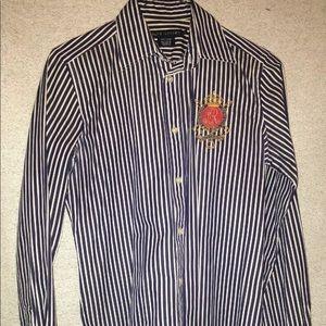 Ralph Lauren Crested Pin stripe button up Sz 6
